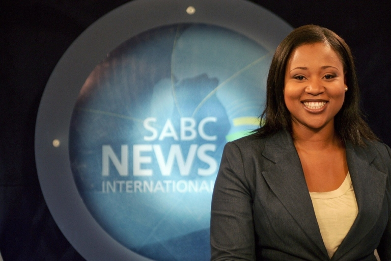 <p>News reader Tshepang Motsekuoa on SABC News International in Johannesburg. South Africa's state-owned broadcaster is controversial because many claim that it covers the news the way the government wants.</p>