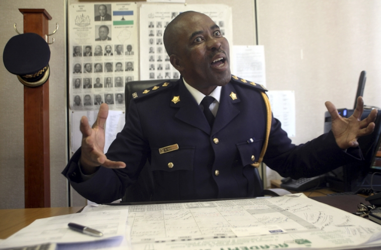 <p>Colonel Masupa Masupa talks on May 27, 2010 about the police's readiness for possible human and drug trafficking syndicates in Lesotho, prior to the start of the 2010 World Cup tournament to take place in South Africa between June and July 2010.</p>