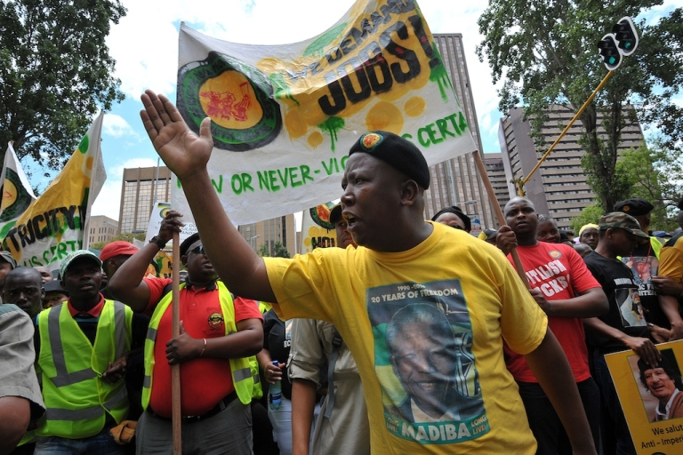 <p>Julius Malema, the former leader of the ANC's youth wing, addresses a crowd on Oct. 27, 2011, in Johannesburg.  Protests like this one are a sign of tough times ahead for South Africa</p>