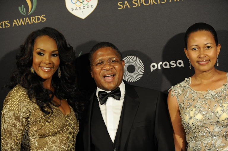 <p>Vivica A. Fox, Fikile Mbalula and Nozoku Mbalula attend the South African Sports Awards on August 21, 2011 in Rustenburg, South Africa.</p>