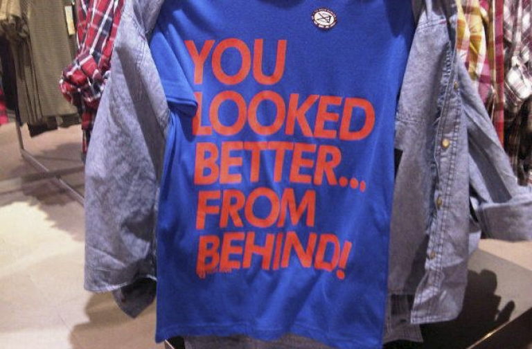 <p>One of the T-shirts highlighted by FeministsSA in the group's request that South African clothing retailer The Foschini Group remove
