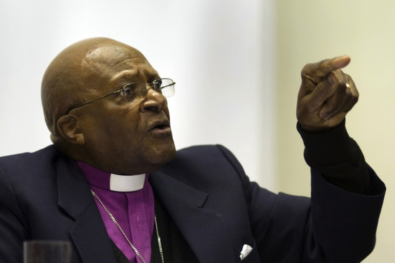 <p>Archbishop Desmond Tutu has criticized the South African government, calling it worse than the apartheid regime.  He is shown here delivering a speech during a public discussion about civic responsibility on August 24, 2011, at the University of Cape Town.</p>