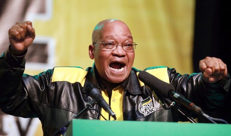 <p>African National Congress (ANC) and South African President Jacob Zuma dances and chants during the closing session of the ANC's National General Council (NGC) in Durban on September 24, 2010. South Africa's ruling African National Congress defended on Friday its push for a Media Appeals Tribunal and called on the country's parliament to consider the mooted press oversight body.</p>