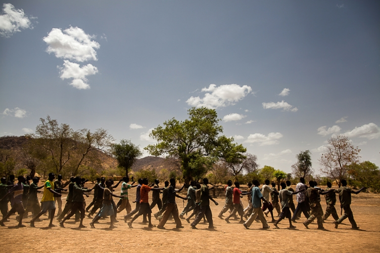 <p>New SPLA-North trainees march during drills at their camp in the Nuba Mountains.</p>