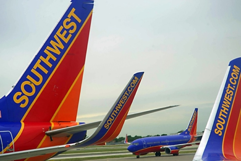 <p>Southwest Airlines passenger planes are seen at Chicago's Midway Airport on May 31, 2012.</p>