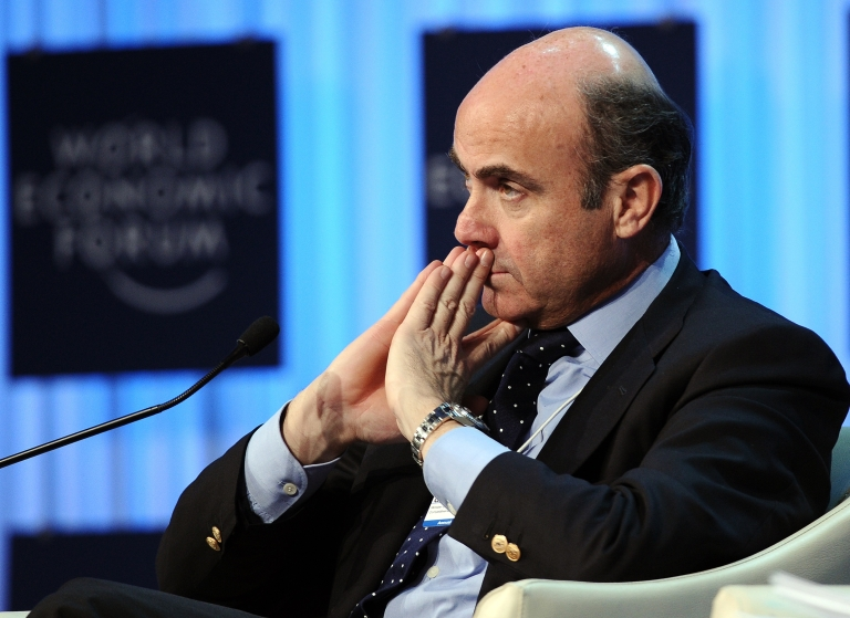 <p>Spanish Minister of Economic Affairs Luis de Guindos Jurado at a debate on the future of the Eurozone at the World Economic Forum at Davos on Jan. 27, 2012.</p>