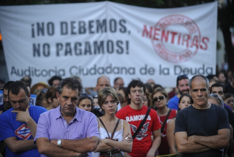 <p>Demonstrators take part in an anti-austerity protest in Madrid on Sept. 22, 2012. Hundreds of Spaniards marched in Madrid to protest over hardships in a recession brought on by the financial crisis that they blame on banks and corrupt politicians.</p>