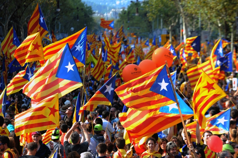 <p>Supporters of independence for Catalonia demonstrate on September 11, 2012 in Barcelona to mark the Spanish region's official day, amid growing protests over Spain's financial crisis which has driven it to seek aid from the central government. Catalonia's leader warned of a