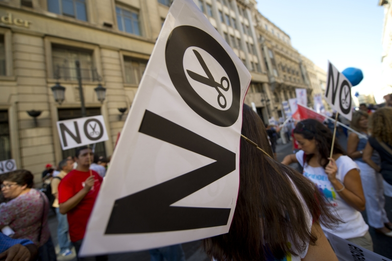 <p>Spaniards protest austerity measures in Madrid this week.</p>