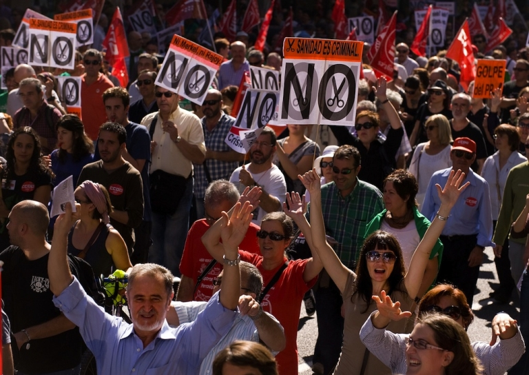 <p>Thousands of people took to the streets of Madrid on Oct. 7 to protest the government's punishing austerity measures.</p>