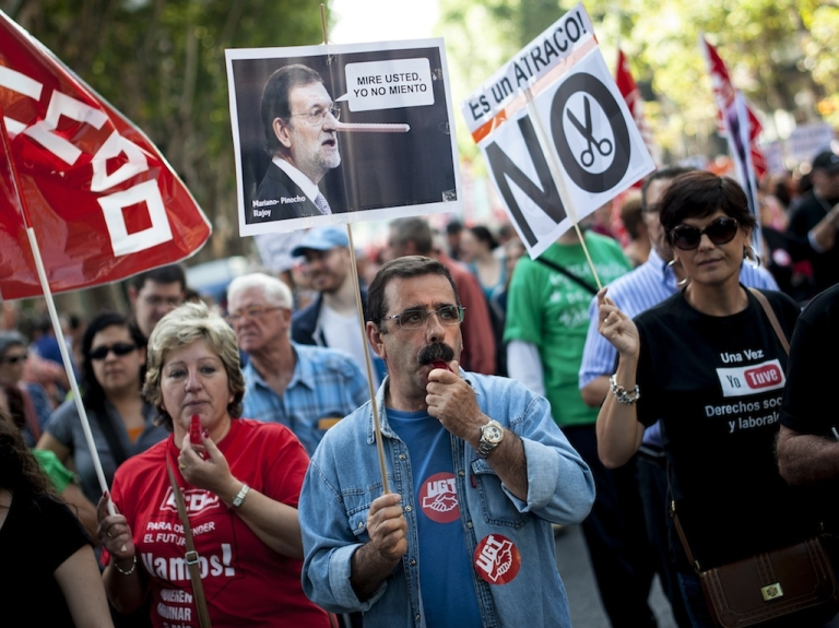 <p>People across Spain have been staging regular protests against government austerity measures they say are simply exacerbating the country's economic crisis.</p>