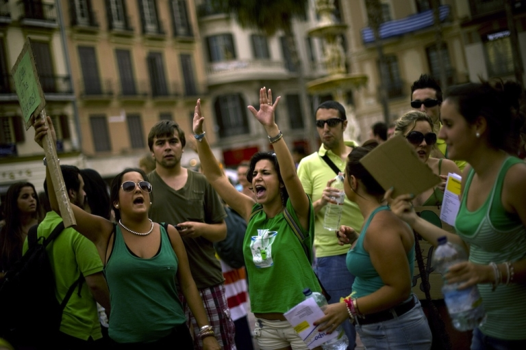 <p>Students demonstrate during a protest against austerity measures in education on June 7, 2012 in Malaga.</p>