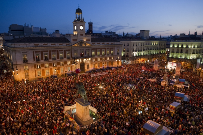 <p>A demonstration in Madrid on March 29, 2012. Spaniards staged a general strike against labor reforms, spending cuts and soaring unemployment.</p>
