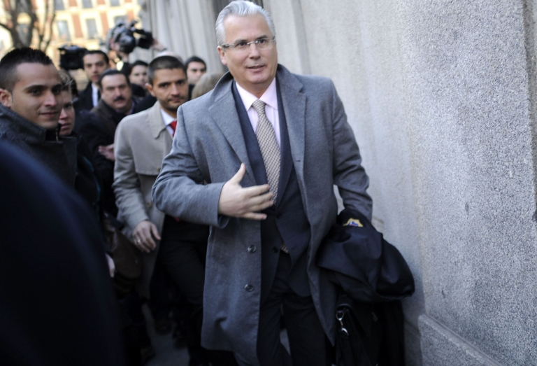 <p>Spanish Judge Baltasar Garzon arrives for his trial at Spain's Supreme Court in Madrid this morning.</p>