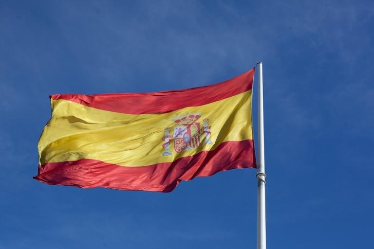 <p>The Spanish flag in Colon Square, Madrid.</p>