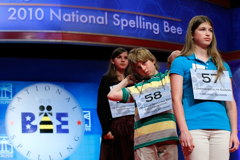 <p>Spellers from Illinois (left to right, Devora Klionsky of Chicago, Christopher S. Rupprecht of Chicago, and Michaela M. Minock of Peotone) wait for their turns during the 2010 Scripps National Spelling Bee competition on June 3, 2010.</p>