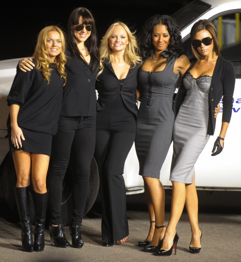 <p>The Spice Girls pose after naming a Virgin Atlantic Boeing 747 plane 'Spice One' in their honor at Los Angeles International Airport December 12, 2007.</p>