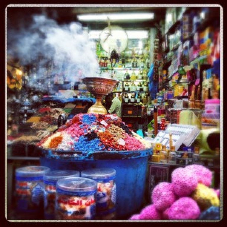 <p>A spice shop in Cairo's Khan al Khalili, a market built in 1382 by a Mamluk sultan.</p>