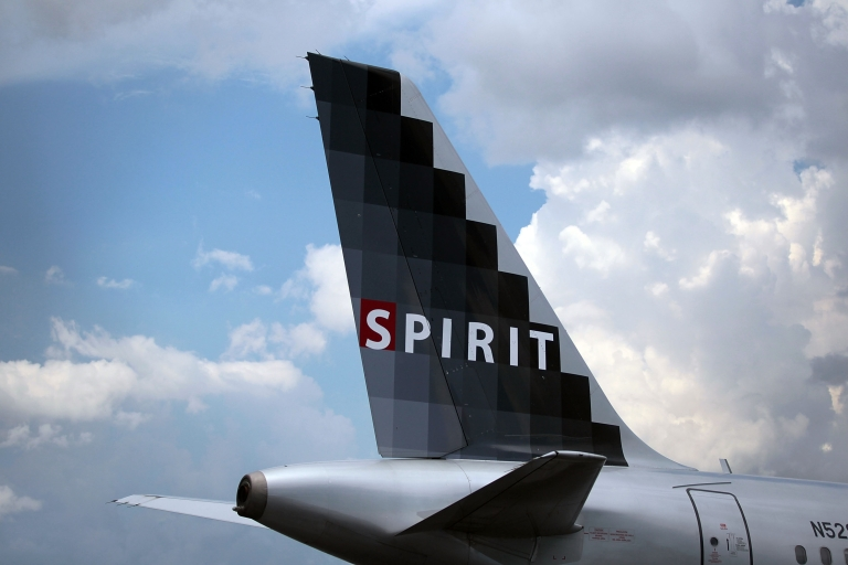<p>A Spirit Airlines Inc. plane on the tarmac at the Fort Lauderdale International Airport.</p>