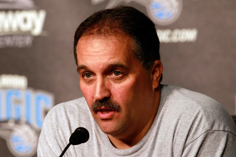 <p>Stan Van Gundy  speaks to the media at Amway Arena on Dec. 18, 2010, in Orlando, Fla. The Orlando Magic fired Van Gundy as head coach on May 21, 2012, and parted ways with general manager Otis Smith following a tumultuous season.</p>