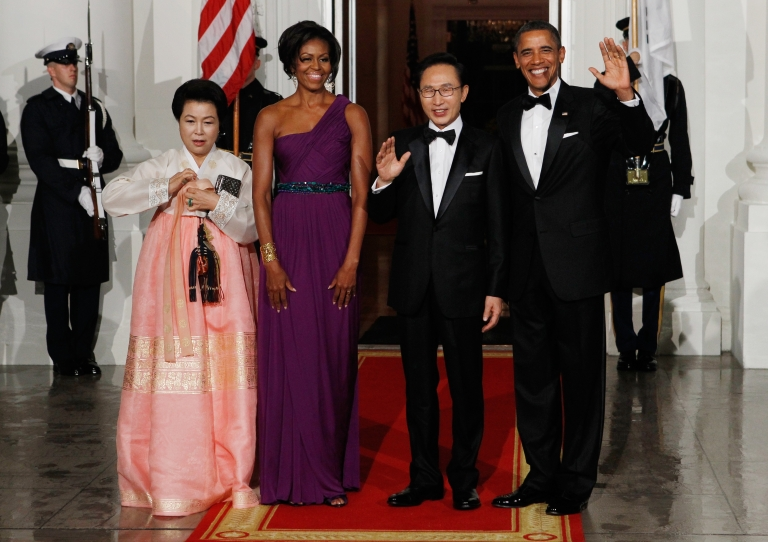 <p>(L-R) Republic of Korea first lady  Kim Yoon-ok, U.S. first lady Michele Obama, Republic of Korea President Lee Myung-bak and U.S. President Barack Obama pose for photographs on the North Portico of the White House before attending the state dinner on Oct. 13, 2011.</p>