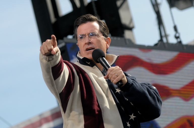 <p>Stephen Colbert speaks during the 'Rally to Restore Sanity and/or Fear' on the National Mall on October 30, 2010 in Washington, DC.</p>