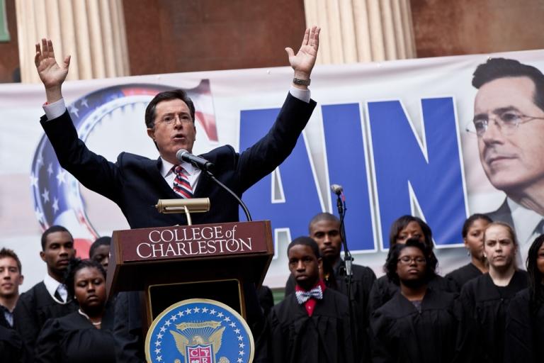 <p>Stephen Colbert's Super PAC has raised over $1 million.  (Photo by Richard Ellis/Getty Images)</p>