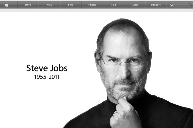 <p>A screenshot of the Apple website home page on Oct. 5, 2011.</p>