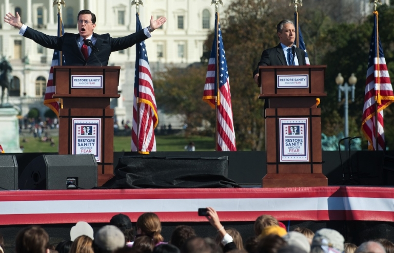 <p>Comedy Central comedians and television hosts Jon Stewart (R) and Stephen Colbert (L) hold a mock debate during the 'Rally to Restore Sanity And/Or Fear' on the National Mall in Washington, DC, October 30, 2010. This time, however, Stewart will take on Bill O'Reilly in a 90 minute debate that will, presumably, provide more serious discussion than jokes.</p>