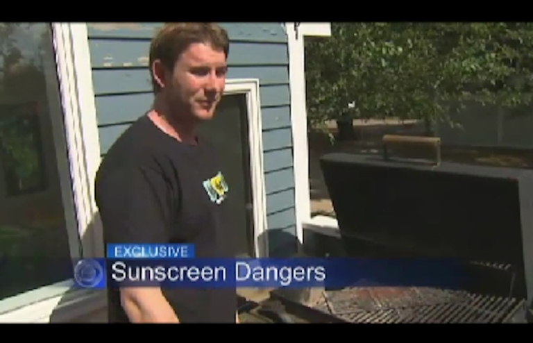 <p>Brett Sigworth suffered second degree burns when he caught on fire near his barbecue after applying sunscreen.</p>