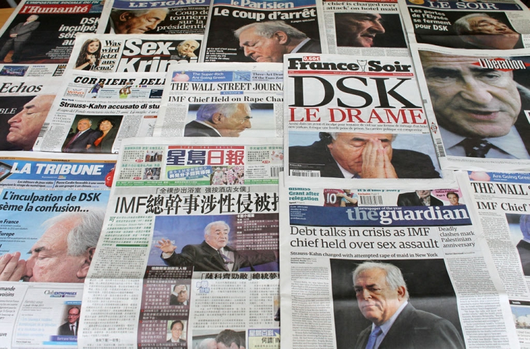 <p>The front pages of French and foreign newspapers on May 16 in Paris, showing IMF chief Dominique Strauss-Kahn, who has been indicted for allegedly sexual assaulting a 32-year-old chambermaid from Guinea at the luxury Sofitel hotel near New York's Time Square.</p>