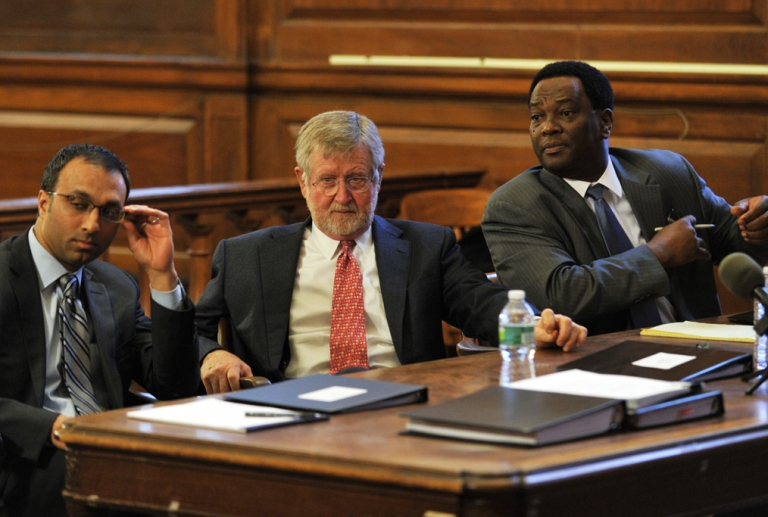 <p>Attorneys for Dominique Strauss-Kahn, Amit Mehta, left, William Taylor, center, and Hugh Campbell listen in court today during the Strauss-Kahn vs. Nafissatou Diallo trial at New York State Supreme Court in the Bronx.</p>