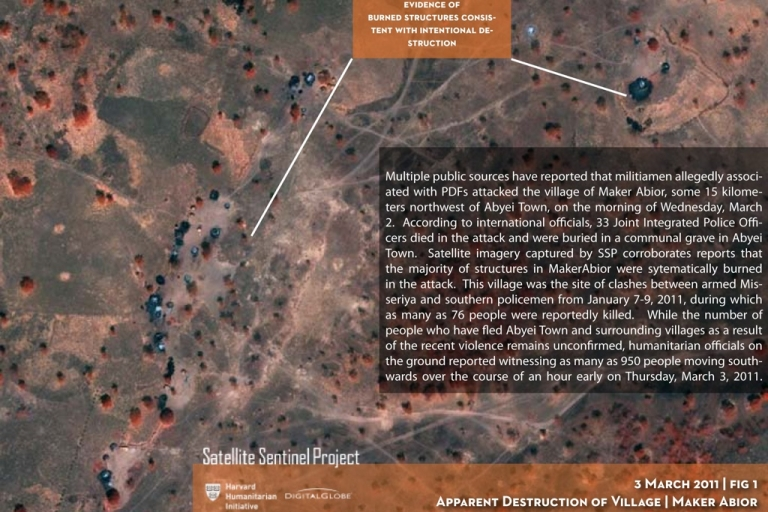 <p>This satellite image of the village of Maker Abior in the Abyei region of Sudan was taken on March 3, 2011, and analyzed for the Satellite Sentinel Project by Harvard Humanitarian Initiative and UNITAR/UNOSAT. It was shot in false infrared to give more contrast to the burned structures. Approximately 20 out of an apparent 24 civilian structures, consistent with Sudan's traditional civilian dwellings known as tukuls, appear to be burned. The absence of scorched ground vegetation or trees is indicative of apparent arson, and is consistent with reports stating that the village was burned by armed Misseriya militia on March 2.</p>