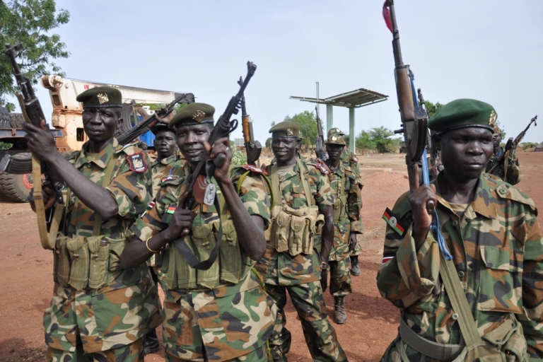 <p>South Sudanese Peoples Liberation Army (SPLA) soldiers on April 23, 2012 at a base near Bentiu.</p>