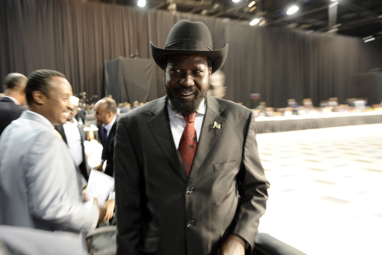 <p>South Sudan President Salva Kiir has appealed to top officials to return $4 billion in stolen cash. Here, Kiir arrives at the opening ceremony of the African Union's Global African Diaspora Summit on May 25, 2012 in Johannesburg</p>