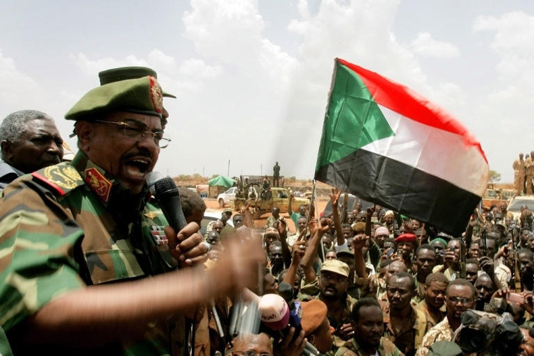 <p>Sudan President Omar al-Bashir addresses troops during his visit to Sudan's main petroleum center of Heglig on April 23, 2012 after the South Sudan withdrew. Bashir said Sudan will crush the