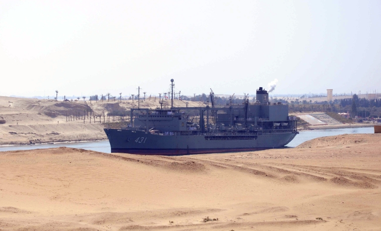 <p>Iranian naval support ship Kharg transits through the Suez Canal on Feb. 22, 2011 bound, along with patrol frigate Alvand, for the Mediterranean Sea on a purported training mission that Israel regards as a provocation.</p>