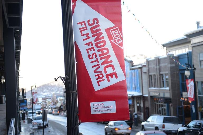 <p>Sundance Film Destival banner January 16, 2013 in Park City, Utah.</p>