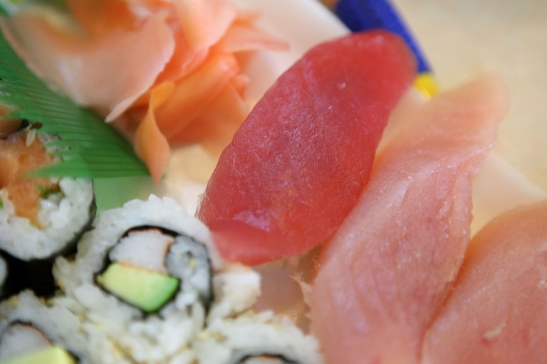 <p>A piece of Bluefin Tuna (Maguro) sits on a sushi plate at Yum Yum Fish March 19, 2010 in San Francisco, California.</p>