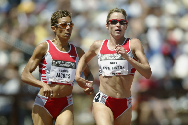 <p>Suzy Favor Hamilton (r) and Regina Jacobs (l) finish 1 and 2 in the women's 1500m final at the USA Outdoor Track and Field Championships on June 21, 2003, at Cobb Track and Angell Field at Stanford University in Palo Alto, Calif.</p>
