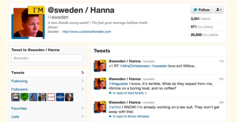 <p>Sweden's Twitter account is currently in the hands of Hanna, a lesbian truck driver.</p>