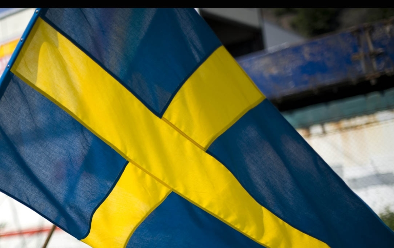 <p>A Swedish flag in Gothenburg, southwest Sweden, on May 21, 2011.</p>