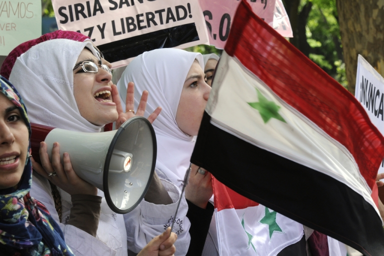 <p>Activists protesting outside Syrian embassies have been harassed by embassy officials according to a new report.</p>