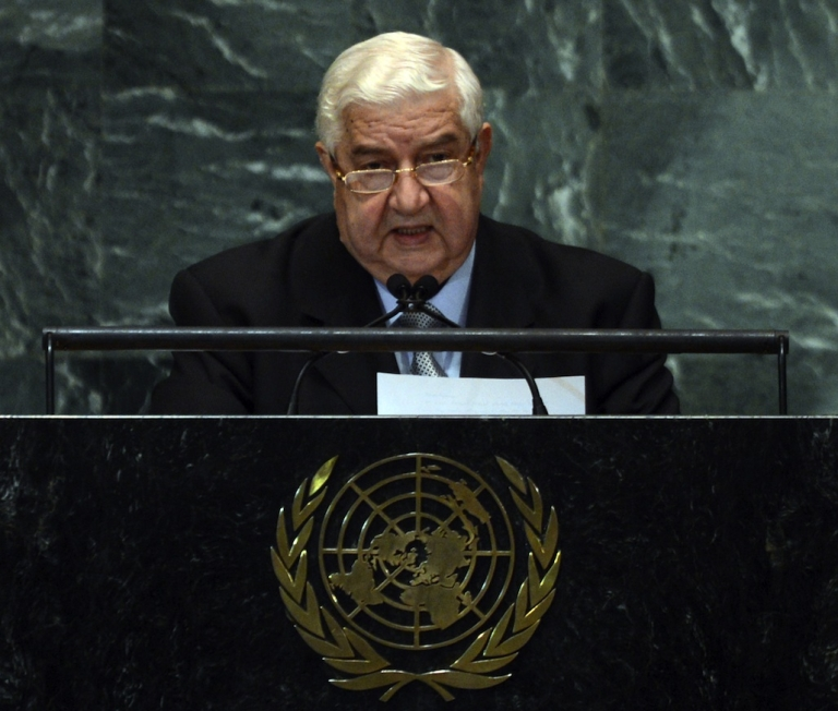 <p>Syrian Foreign Minister Walid Moallem speaks during the 67th session of the United Nations General Assembly in New York on October 1, 2012.</p>