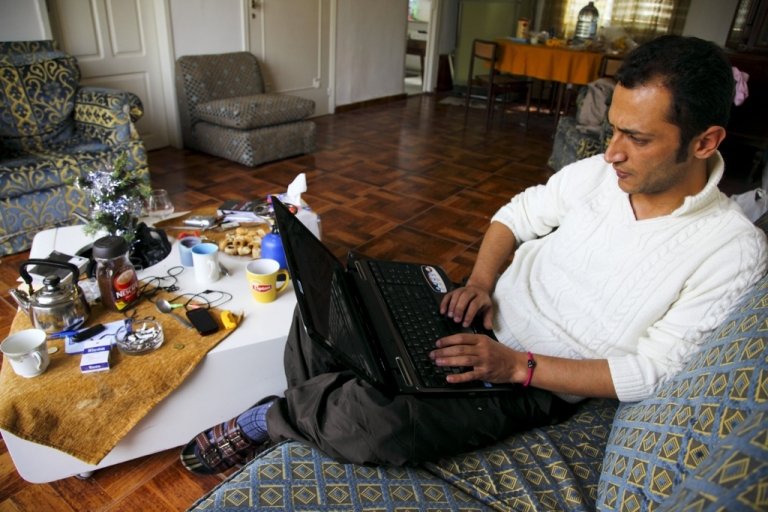 <p>Rami Nakhle, a Syrian activist, works from his home in Beirut, Lebanon.</p>