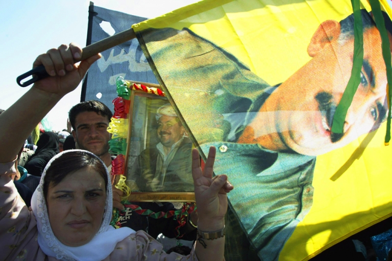 <p>Some of the 3000 Syrian Kurds, supporters of outlawed Kurdistan Workers' Party (PKK) in the Syrian town of Qamishli.</p>