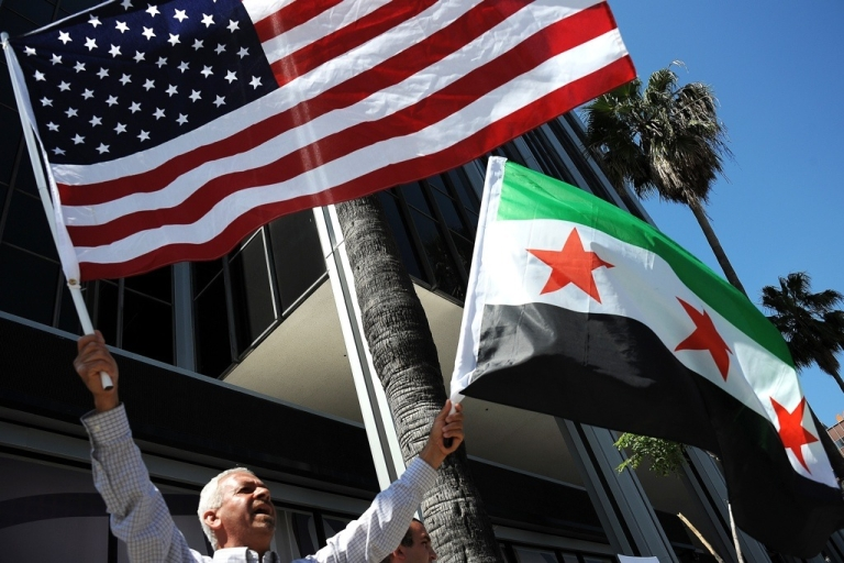 <p>People attend a demonstration to ask for freedom in Syria on June 3, 2011 in Hollywood, Calif.</p>