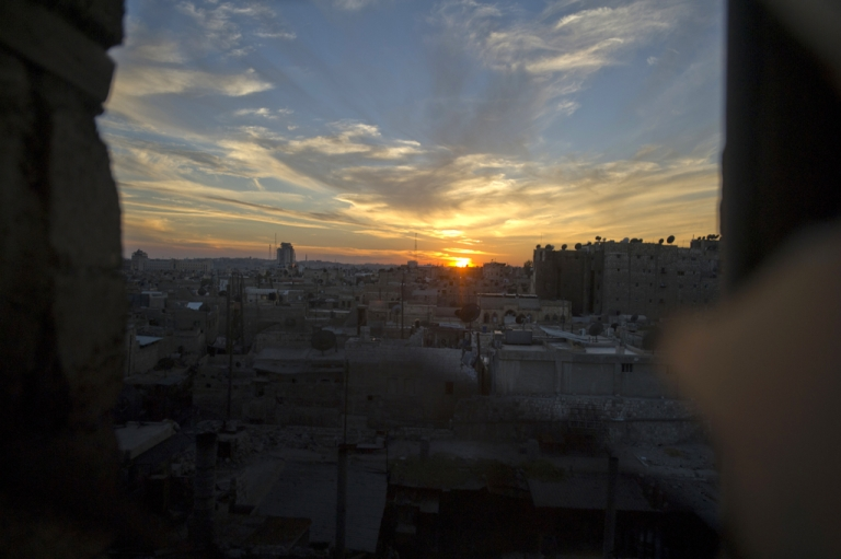<p>Syria's northern city of Aleppo at sunset on Oct. 12, 2012.</p>