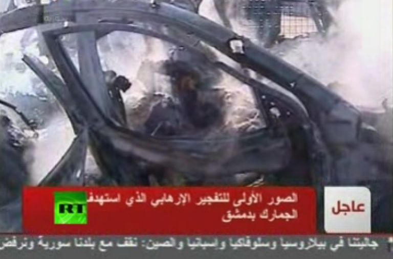 <p>Images of the twin bombings that rocked Damascus on Saturday March 17, 2012 broadcast on Syrian state television.</p>