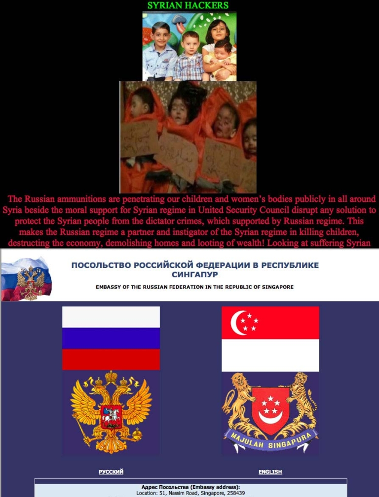 <p>A screen grab of the website of the Russian embassy in Singapore, whcih was hacked by Syrian activists. An image of the cached version of the site is below.</p>